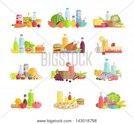 Collection of food concepts. Sets with fruits, vegetables, meat, sweets, beverages, bread, pizza, salads, sandwiches, milk products for farming grocery shop food delivery cafe menu illustrating