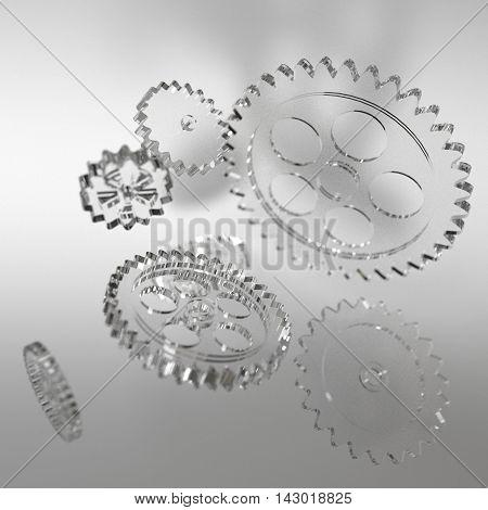 Machine glas gear mechanism background. 3D illustration