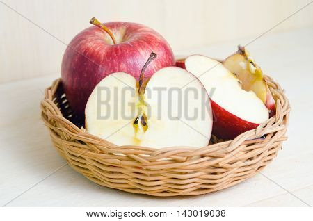 Apple Isolated On Wooden Board Background