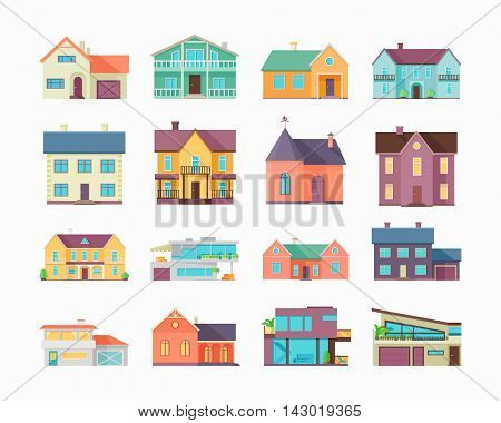 Big set of houses, buildings and architecture variations isolated on white. Countryside or city architecture. Part of series of modern buildings in flat design style. Real estate concept. Vector