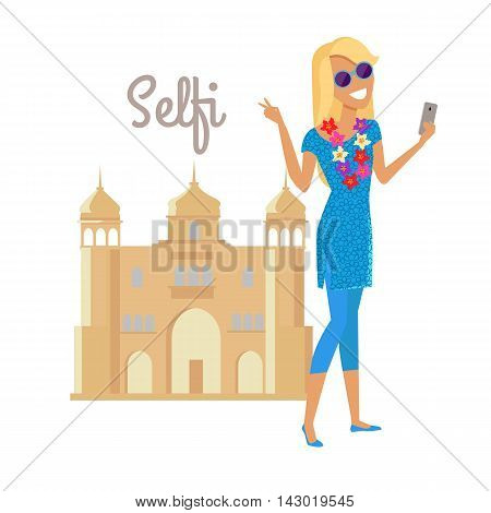 Summer vacation in India concept. Journey in exotic countries vector illustration. Selfie on the background of famous historical monuments. Young woman taking pictume near asian building. Flat Design.