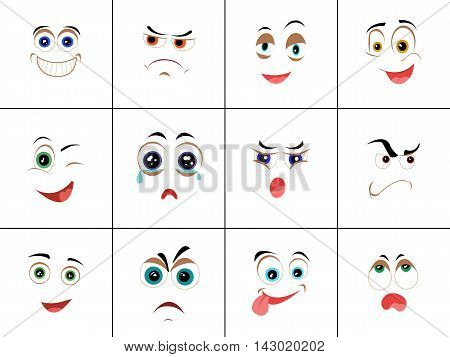 Set of smileys with expression of emotions. Funny emoticons expressing anger, happiness, sadness, joy, surprise, wonder, amazement. Different mood states collection isolated on white. Vector