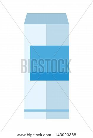 Aluminum can with blue label. Bottle of drink. Energy drink can. Aluminum can icon. Retail store element. Simple drawing. Isolated vector illustration on white background.