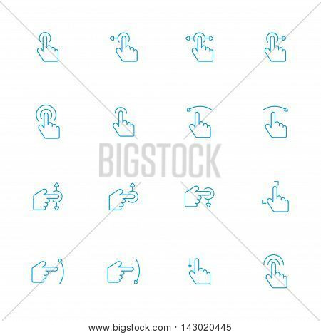 touch screen blue line icons set of 16
