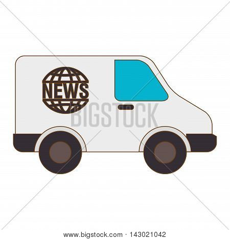 news van vehicle journalism  press report connection reportage vector illustration isolated