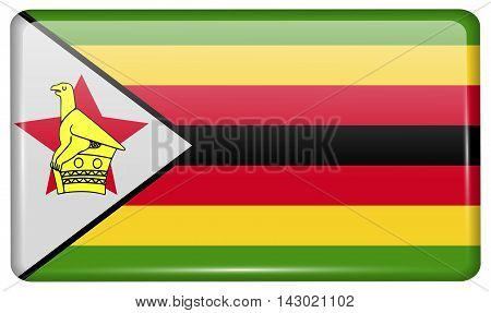 Flags Zimbabwe In The Form Of A Magnet On Refrigerator With Reflections Light. Vector