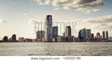 Skyline of downtown New York in evening