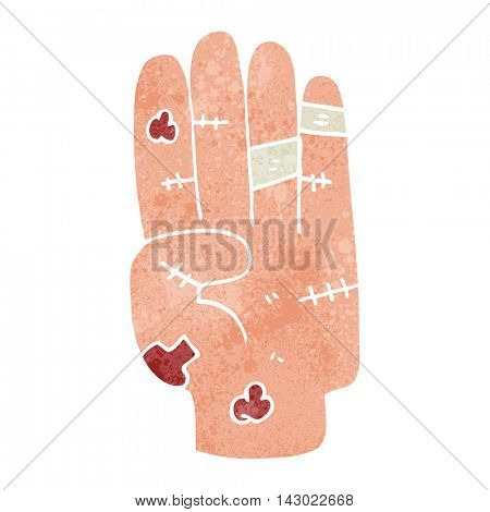 freehand retro cartoon injured hand