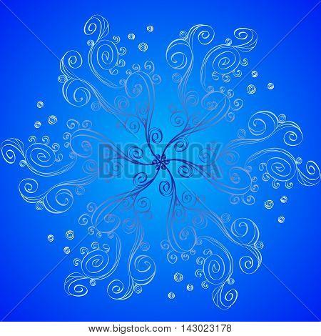 Vector Illustration, hand drawn. Decorative Sea Waves round ornaments for wallpaper, gift paper, fabric print, furniture. Mandala design element. Unusual flourish line ornament. Abstract weave flower