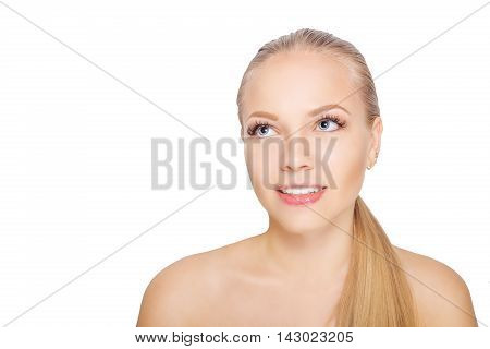 Smiling young scandinavian woman after eyelash Extension Procedure. Woman Eyes with Long Eyelashes, lashes. Isolated.