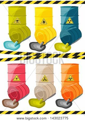 Toxic chemicals leak out of the container with the sign dangerous. Vector illustration