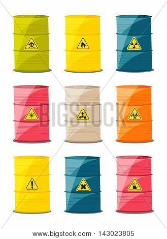 Containers with explosive and reactive substances waste of chemical industry. Vector illustration