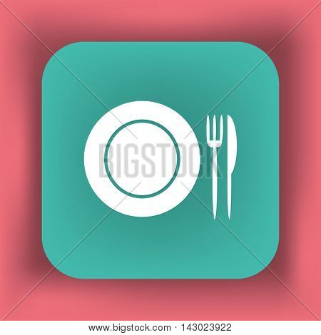 Flat icon. Plate, fork and knife. Dinner. A cafe. A restaurant.
