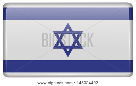 Flags Israel In The Form Of A Magnet On Refrigerator With Reflections Light. Vector