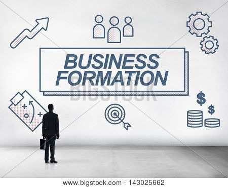 Business Formation Network Target Icons Graphic Concept