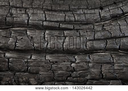 Old, burned wooden background, dark texture closeup