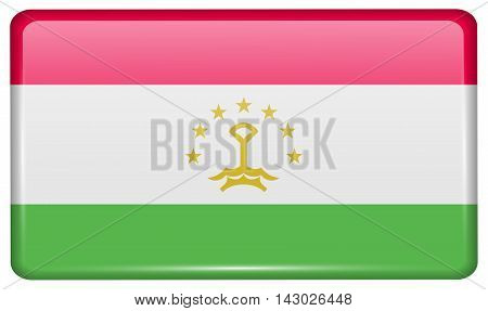 Flags Tajikistan In The Form Of A Magnet On Refrigerator With Reflections Light. Vector