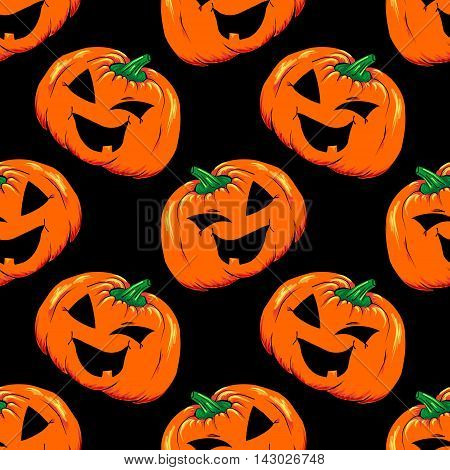 Halloween jack-o-lantern orange pumpkin vegetable seamless pattern vector