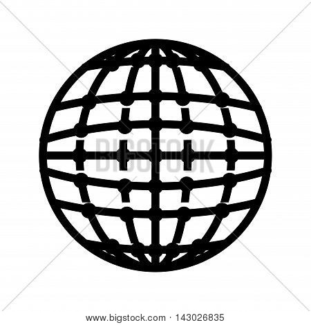 global icon globe connection network worldwide map corporation vector illustration isolated
