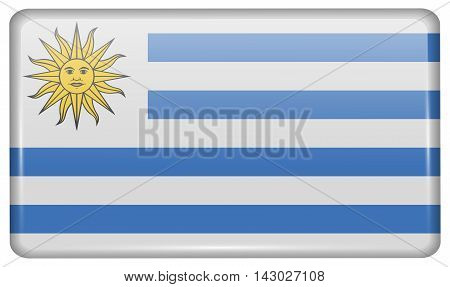 Flags Uruguay In The Form Of A Magnet On Refrigerator With Reflections Light. Vector
