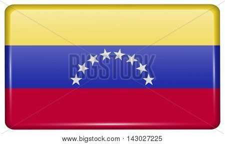 Flags Venezuela In The Form Of A Magnet On Refrigerator With Reflections Light. Vector