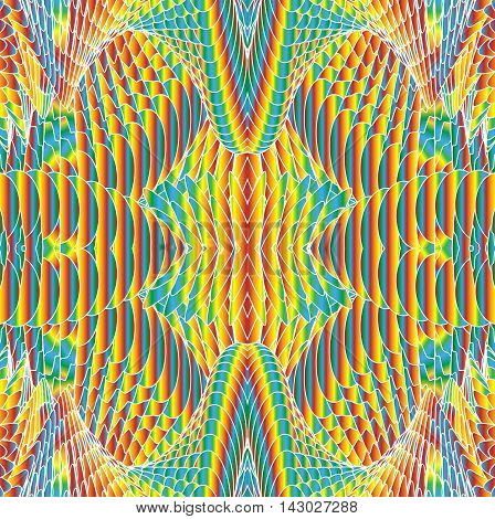 Kaleidoscopic bright rainbow pattern. The image is computer graphics created using various programs