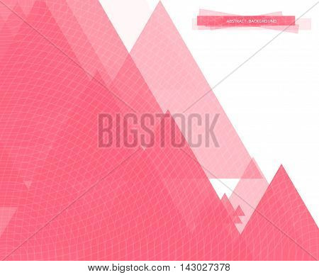 Bright colorful geometric background made of triangles. Abstract pink card design for printing. Vector illustration