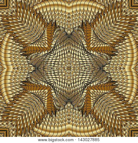 Kaleidoscopic gold pattern. The image is computer graphics created using various programs.