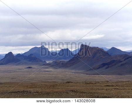 Barren Volcanic Landscape in the Icelandic Highlands