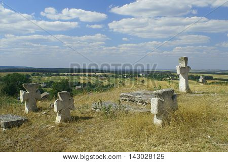 Tombs and crosses the medieval Cossack cemetery on the hill near Devil's rock