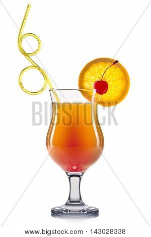 Exotic cocktail in hurricane glass isolated on white background.