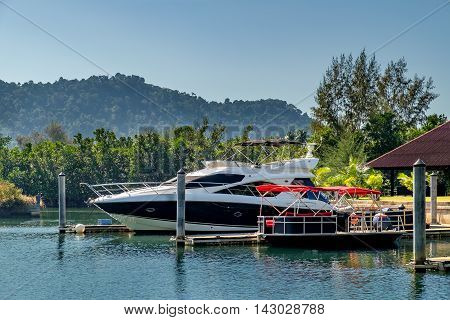Modern Boat to drop anchor in a harbour Koh Chang Thailand