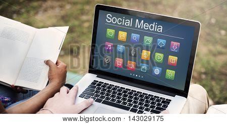 Social Media Website Symbols Concept