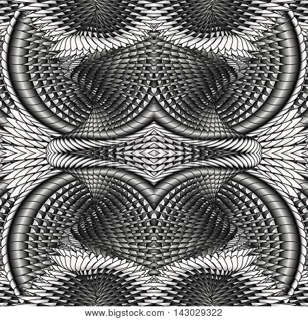 Kaleidoscopic metal pattern. The image is computer graphics created using various programs.