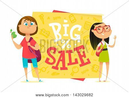 Big sale poster for school theme. Happy pupils