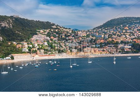 Coastline and harbor of Vellefranche in Nice France