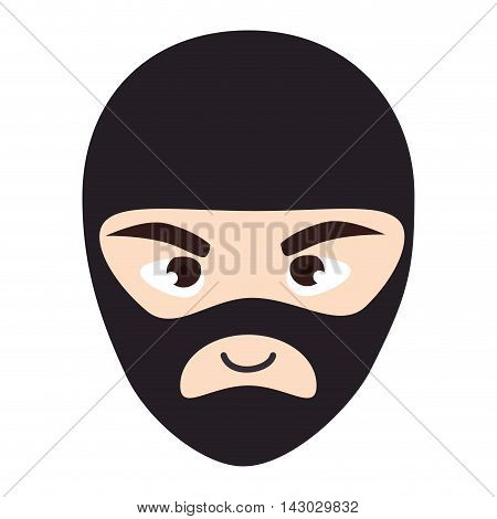 thief robber mask black clothes male man vector illustration isolated