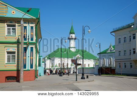 KAZAN, RUSSIA - MAY 02, 2016 : Al-Mardzhani Mosque on the street Kayum Nasyri in the Old Tatar Sloboda sunny may day. Religious landmark  of the city Kazan, Tatarstan