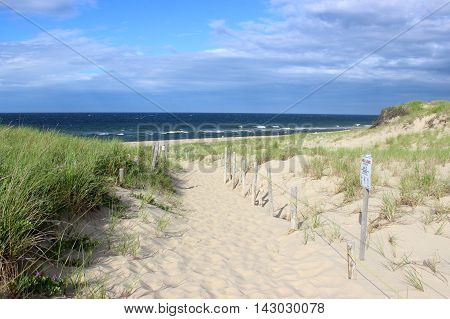 A pathway though the dunes leading to Head of the Meadow Beach, Truro, Cape Cod, Massachusetts.