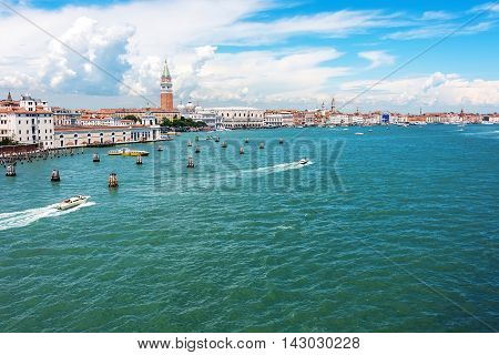 View of Venice from the main harbor a city with historic architecture grand canals and bridges.