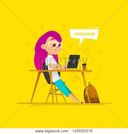 Girl character sit in classroom. She holds a tablet in the hands.