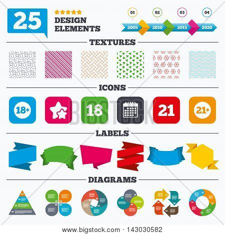 Offer sale tags, textures and charts. Adult content icons. Eighteen and twenty-one plus years sign symbols. Sale price tags. Vector