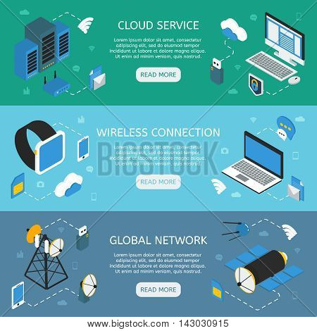Wireless technology horizontal isometric banners with cloud service wifi connection global network isolated vector illustration
