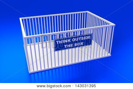 The cage and write text: Think outside the box. 3D rendering