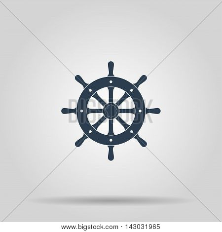 Ship steering wheel sign icon vector illustration. Flat design style