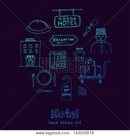 Vector hotel seat Hand drawn doodle sketch illustration