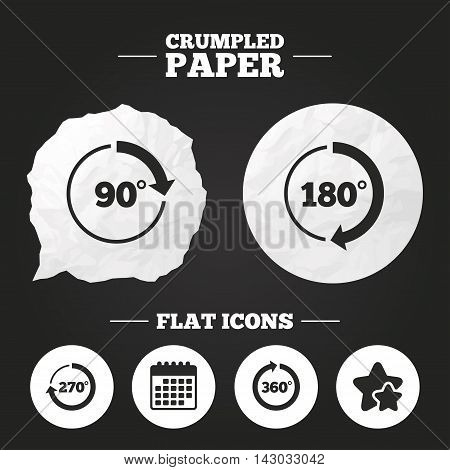 Crumpled paper speech bubble. Angle 45-360 degrees circle icons. Geometry math signs symbols. Full complete rotation arrow. Paper button. Vector