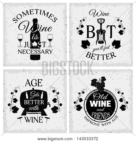 Wine quotes typographic monochrome emblems with grape bunch and vines wooden barrel and bottle isolated vector illustration
