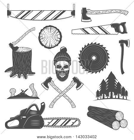 Lumberjack monochrome elements set with working tools round timber spruce forest emblem of woodcutter isolated vector illustration