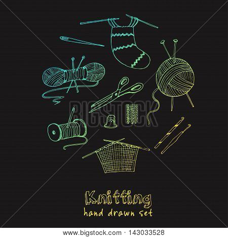 Craft icons - Sewing Icons for sewing, knitting, crafts, hobbies. Collection of design elements isolated on White background. Vector illustration